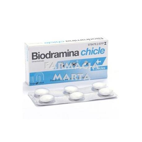 BIODRAMINA 20 MG 6 XICLETS