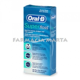 ORAL B SUPER FLOSS SEDA DENTAL 50 FIBRES PRE-TALLADES