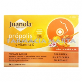 JUANOLA PROPOLIS AMB MEL, ALTEA I VITAMINA C 24 PASTILLES